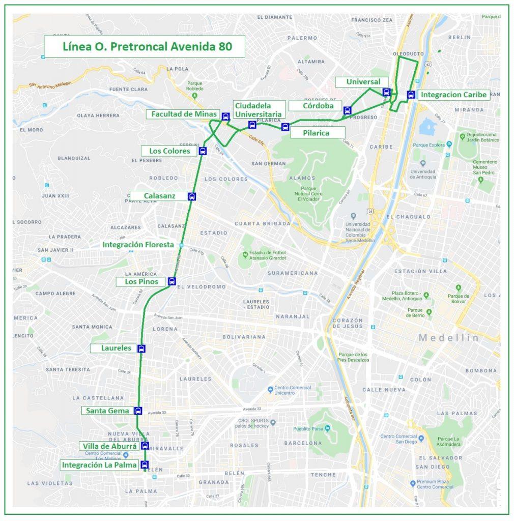Esta es la línea O de buses que opera actualmente y que sería reemplazada por la línea del Metro. Inicialmente entre las estaciones Caribe y Floresta.